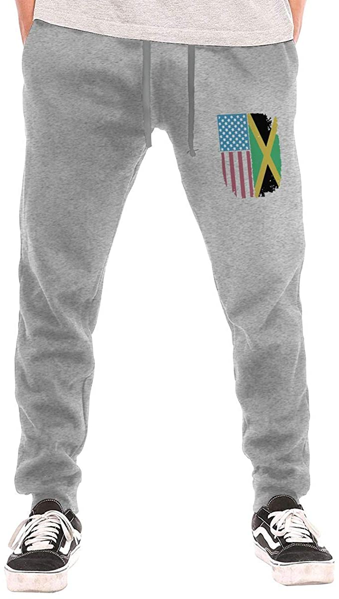 WFIRE Jamaican American Flag Men Jogger Sweatpants Sports Long Tights Pants