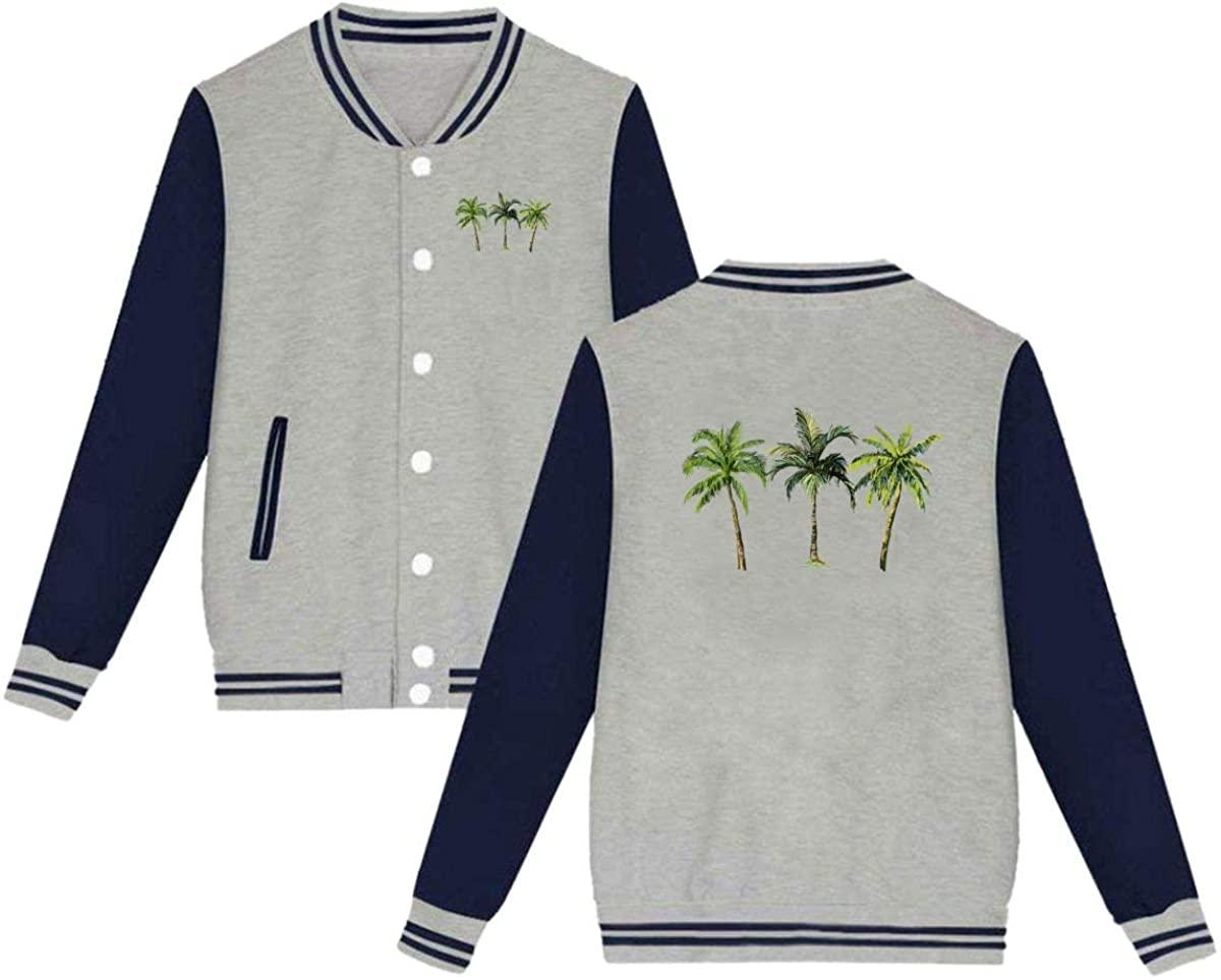 MOCSTONE Unisex Varsity Jacket Botanical Palm Trees Baseball Letterman Jackets Sport Coats