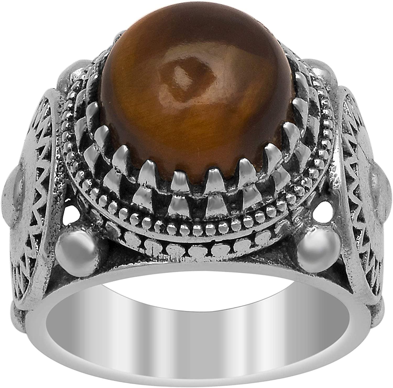 Shine Jewel Very Antique Design 6.00 Ctw Tiger Eye Gemstone 925 Silver Boho Oxidized Ring