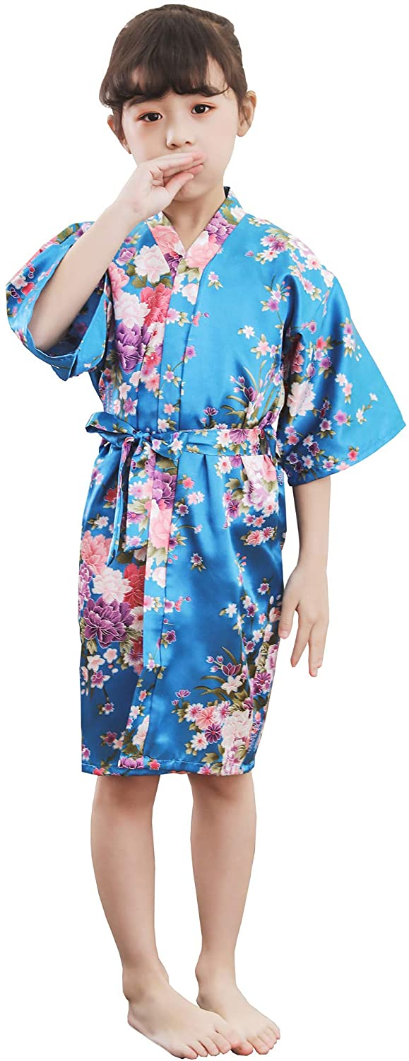 Shanghai Story Girl's Kimono Robe Short Bathrobe Floral Nightgown Sleepwear Satin Robe for Wedding Party