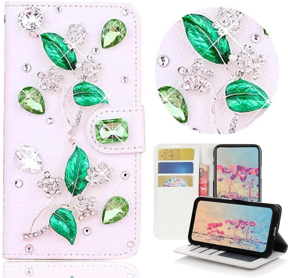 STENES Samsung Galaxy J7 V Case, Samsung Galaxy J7 Perx Case - STYLISH - 3D Handmade Bling Crystal Leaf Desgin Wallet Credit Card Slots Fold Media Stand Leather Cover Case - Green