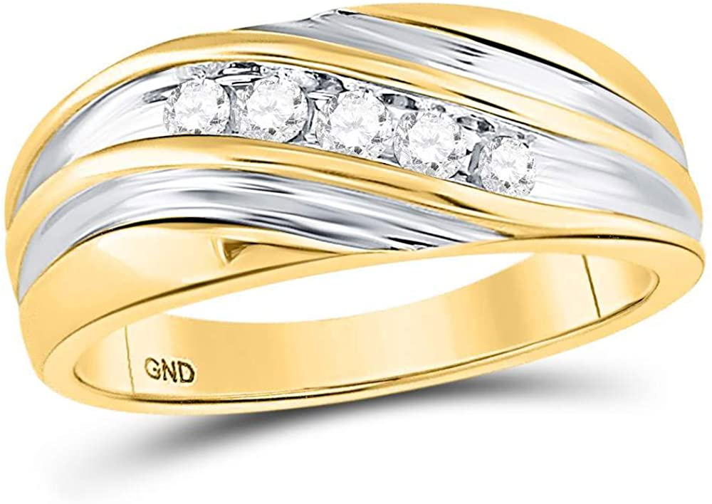 The Diamond Deal 10kt Two-tone Gold Mens Round Diamond Wedding Anniversary Band Ring 1/4 Cttw