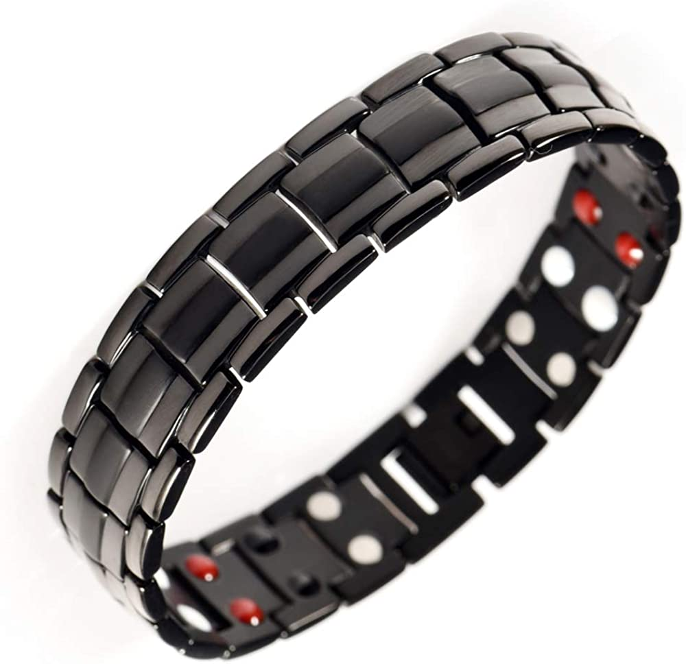 Wollet Magnetic Therapy Bracelet Pain Relief for Arthritis and Carpal Tunnel with Magnets Fashion Jewelry for Men Bracelets for Men Bracelet for Mens Healing Wristband