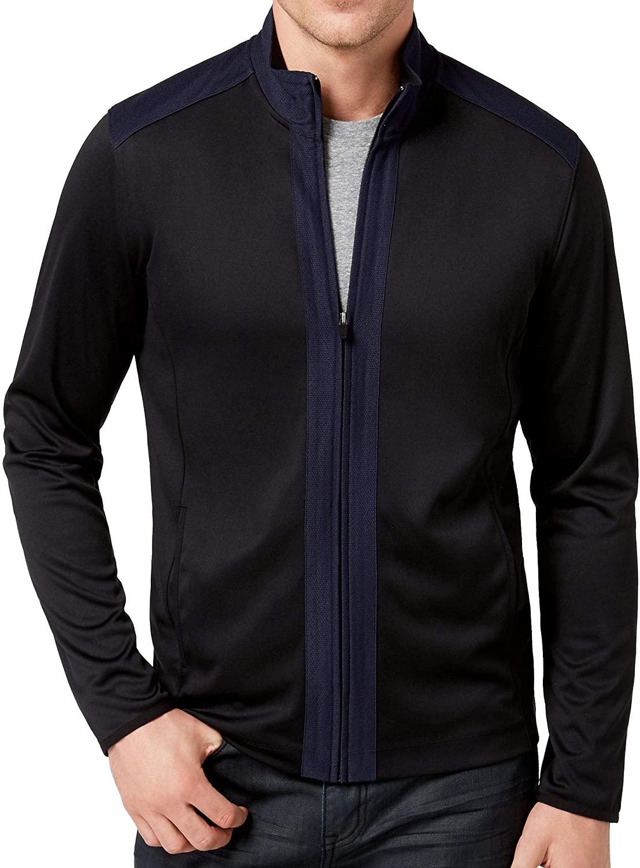 Alfani Men's Colorblock Deep Black Full Zip Sweatshirt