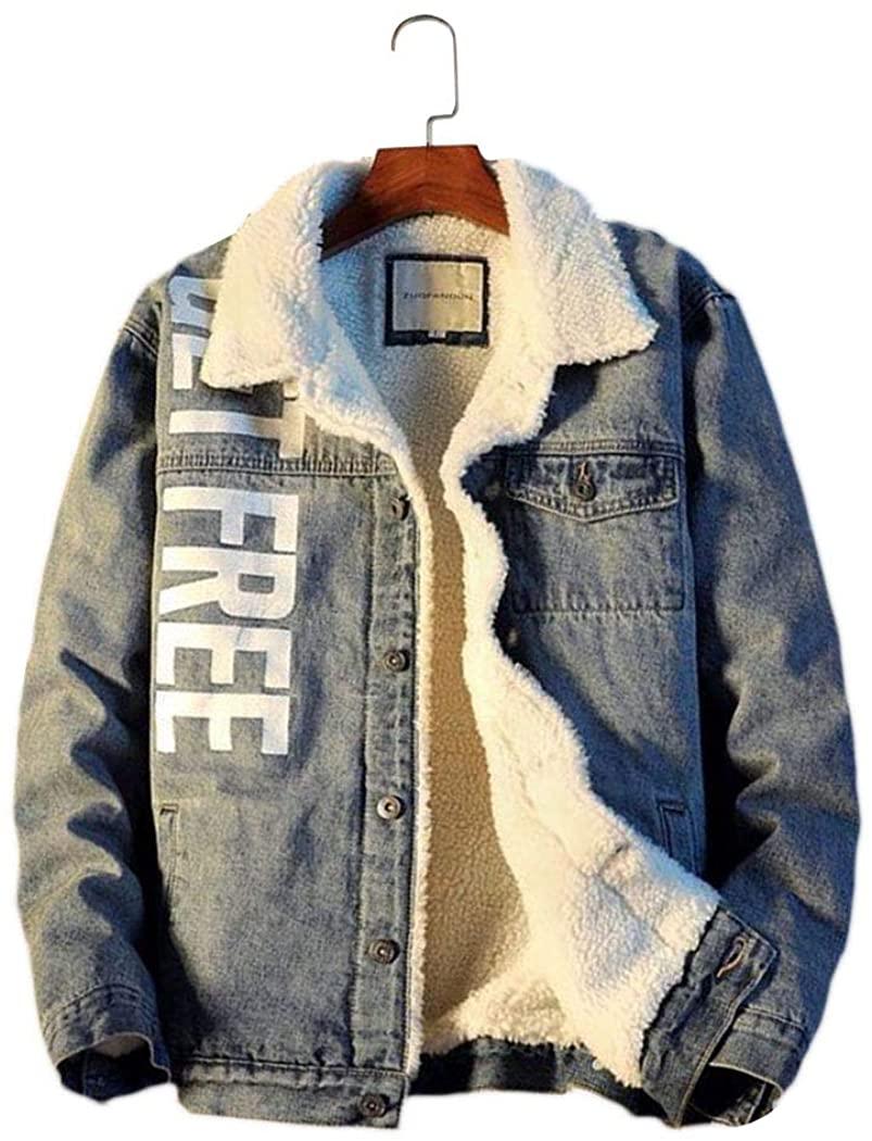 Azastar Mens Fleece Sherpa Lined Jacket Fashion Casual Winter Warm Coat Denim Jacket