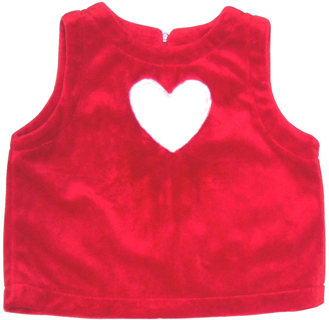 Abeille Girls Red Faux Cashmere Top with White Faux Fur Heart Size:3T