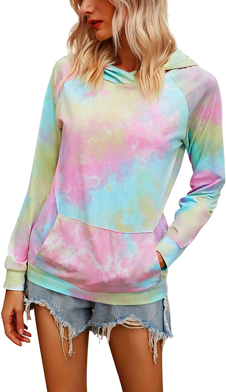 Hibluco Womens Casual Floral Printed Hoodie Pullover Sweatshirts with Pockets