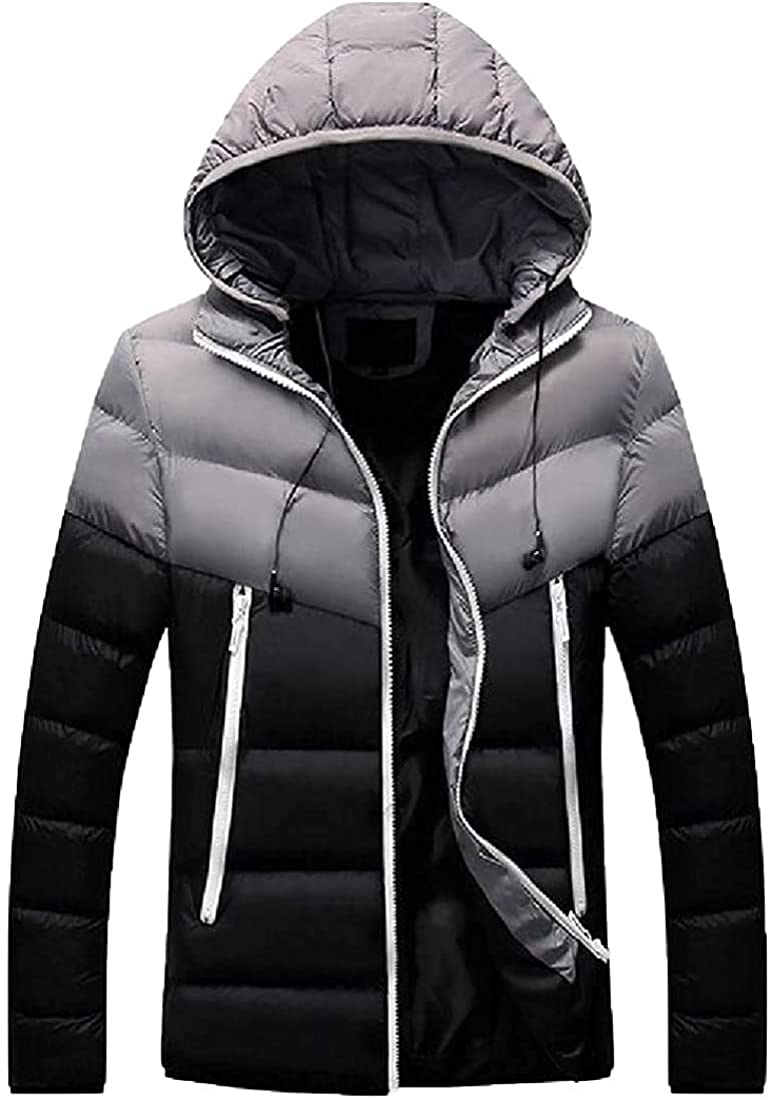 Mens Casual Hooded Warm Zipper Long Sleeve Color Block Patchwork Short Down Outwear Coat Tops