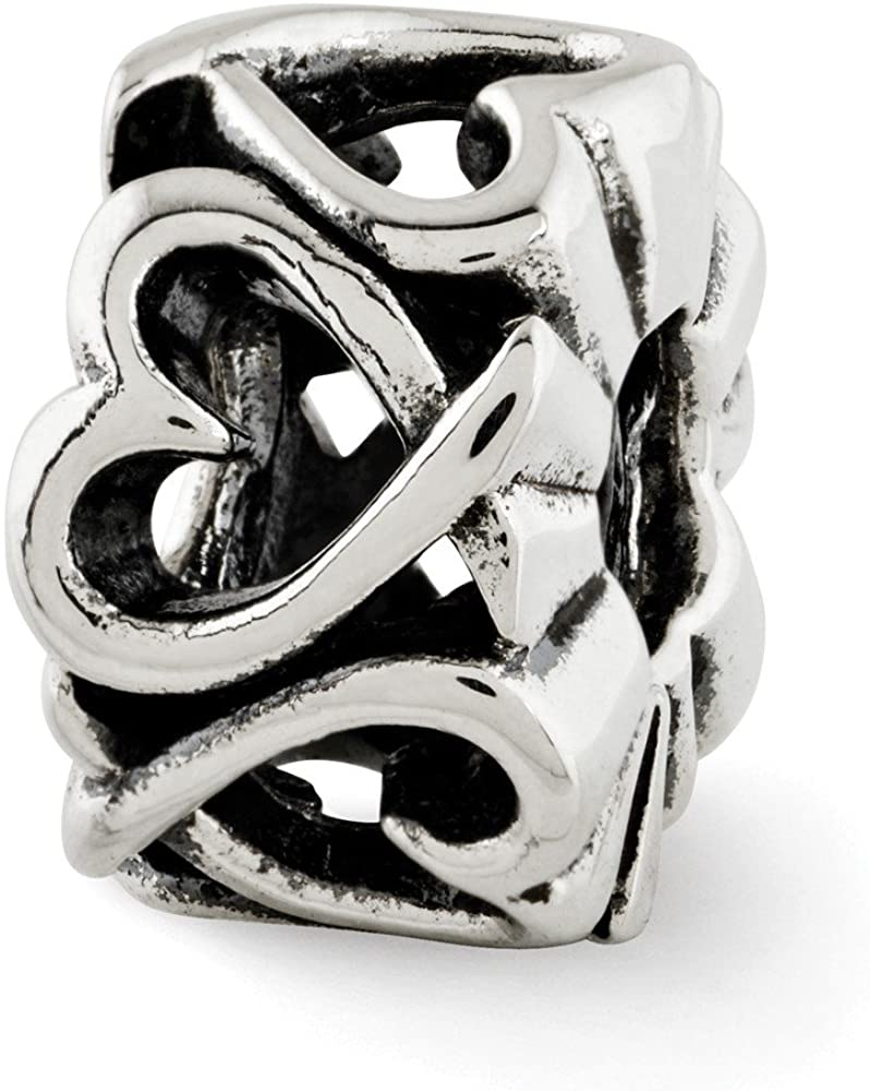 Bead Charm White Sterling Silver Themed 11.82 mm 7.27 Reflections Hearts