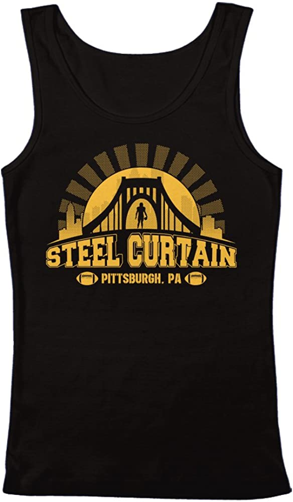 GEEK TEEZ Pittsburgh Football Super Fan Steel Curtain Men's Tank Top