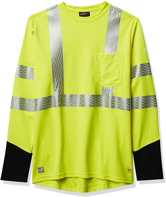 ARIAT Men's Flame Resistant Hi-vis Long Sleeve Crewwork Utility Tee Shirt