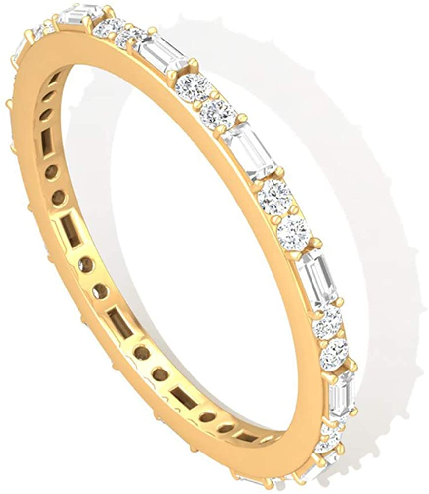 0.51 CT Round Baguette IGI Certified Diamond Wedding Ring, Alternating Diamond Eternity Vintage Anniversary Ring, Unique Mother Stacking Promise Rings, 14K Yellow Gold, Size:US 8.5