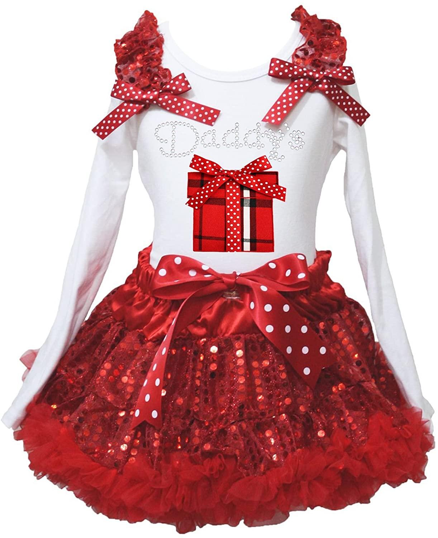 Valentine Dress Daddy Plaid Gift Box White L/s Shirt Red Sequin Skirt Set 1-8y