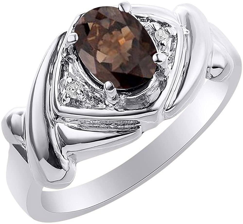 Diamond & Smoky Quartz Ring Set In 14K White Gold - XO Hugs & Kisses - Color Stone Birthstone Ring