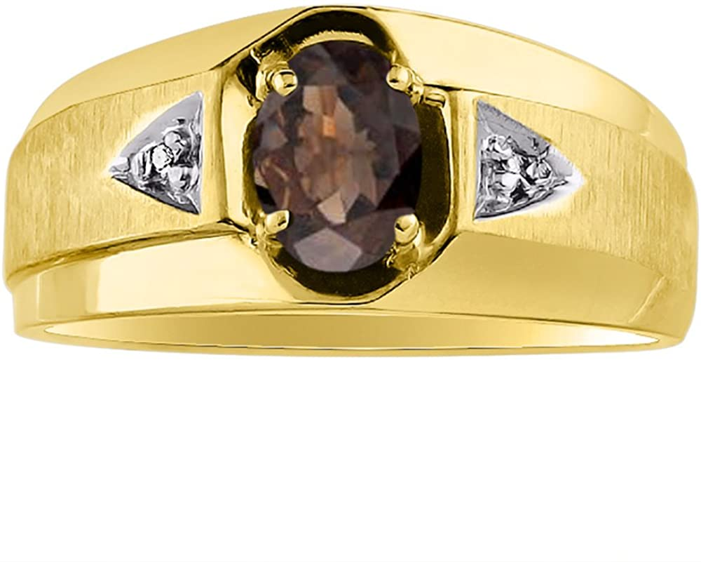 Diamond & Smoky Quartz Ring Sterling Silver or Yellow Gold Plated