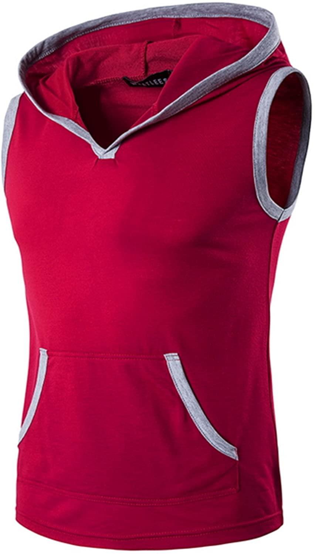 Men's Summer Pocket Sleeveless Hooded Tank Tops Cotton Slim Fit Patchwork Tank Top Hoodies for Men