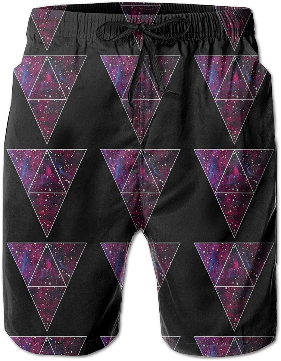 DoubleHappy Space Triangles Men Quick Dry Swim Swimwear Trunks Shorts Bathing Suit