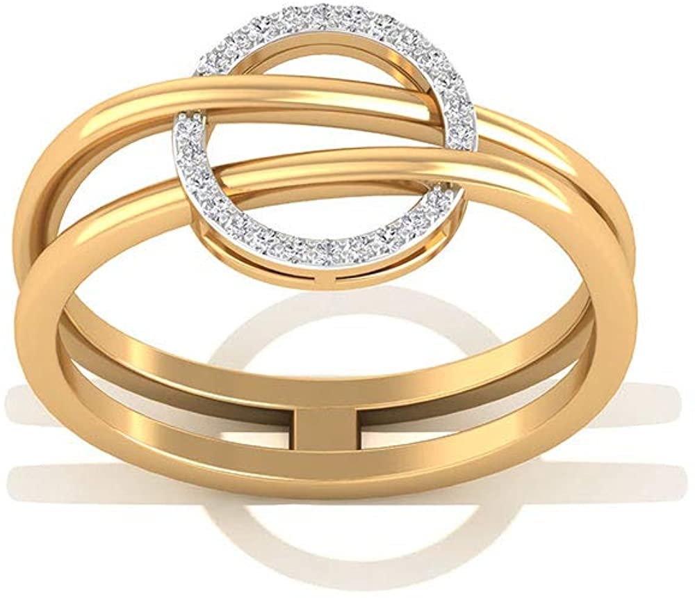 Minimalist Open Circle Diamond IGI Certified Ring, Simple Bridesmaid Wedding Ring, IJ-SI Color Clarity Diamond Promise Ring, Valentine Gift for Teen, 14K Yellow Gold, Size:US 8.5