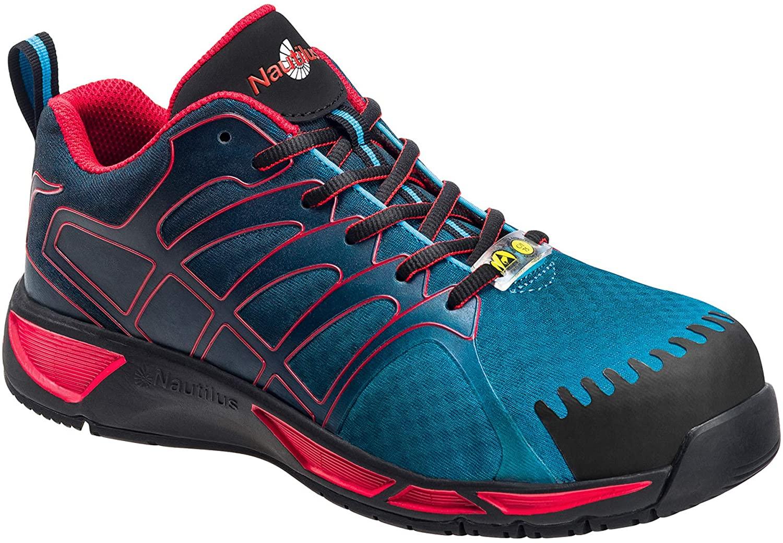 Nautilus Safety Footwear Mens ESD Althletic Sneaker, Blue/Red