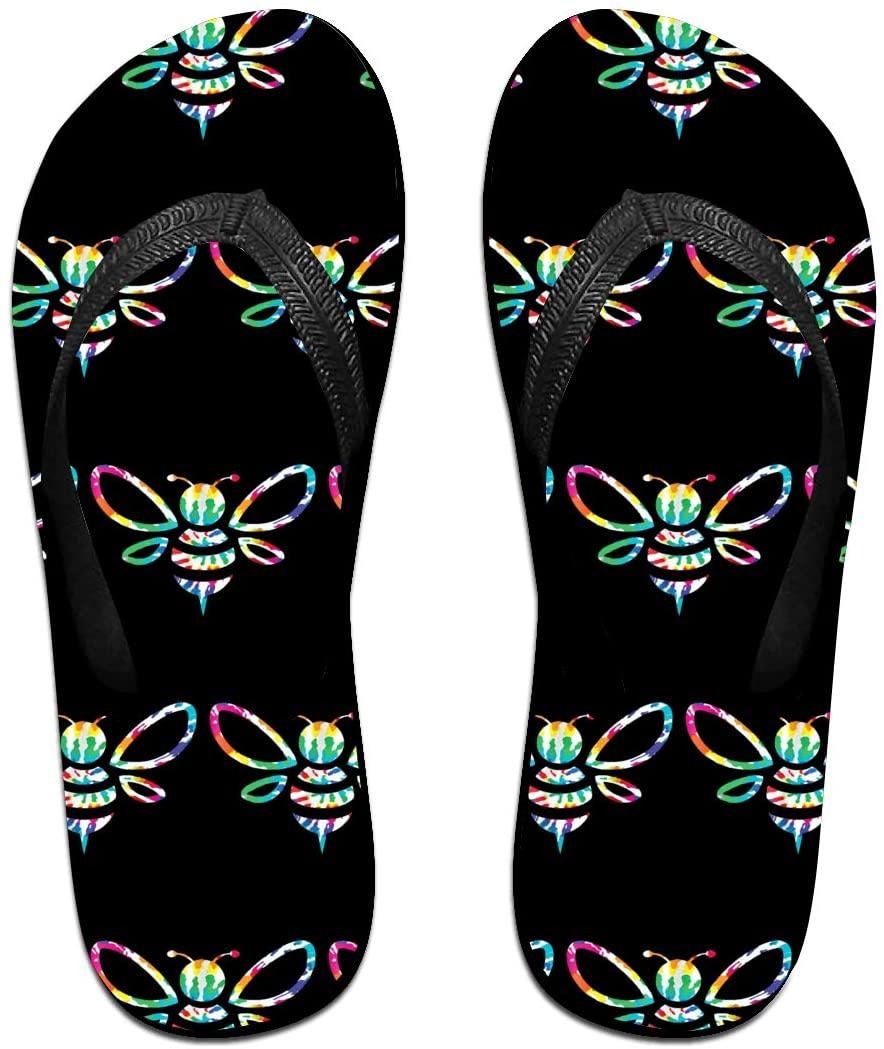 JINYOUR Tie Dye Bee Unisex Flip Flops Summer Slippers Shoes Beach Sandal