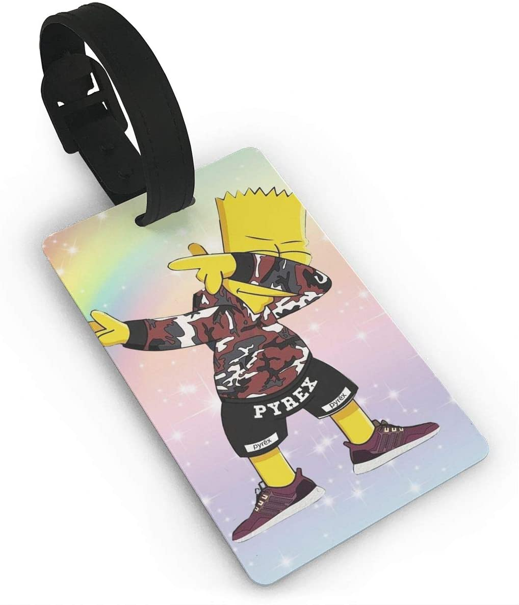 Hhill Swater Bart Simpson Luggage Tags for Suitcases, Travel Id Identification Labels Set for Bags & Baggage Pack