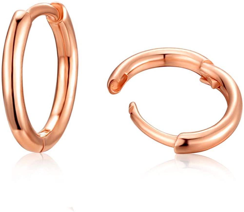 Sterling Silver Small Hoop Earrings for women-Fashion Dainty Hypoallergenic Silver Cartilage Earrings (10mm)