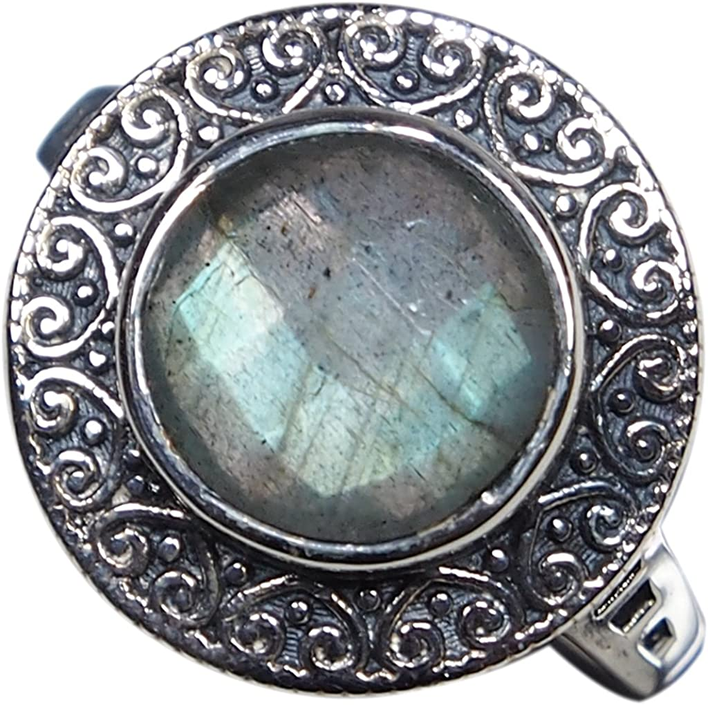 CZgem Labradorite Ring Cut Round Shape Blue Light 925 Sterling Silver US Size 8