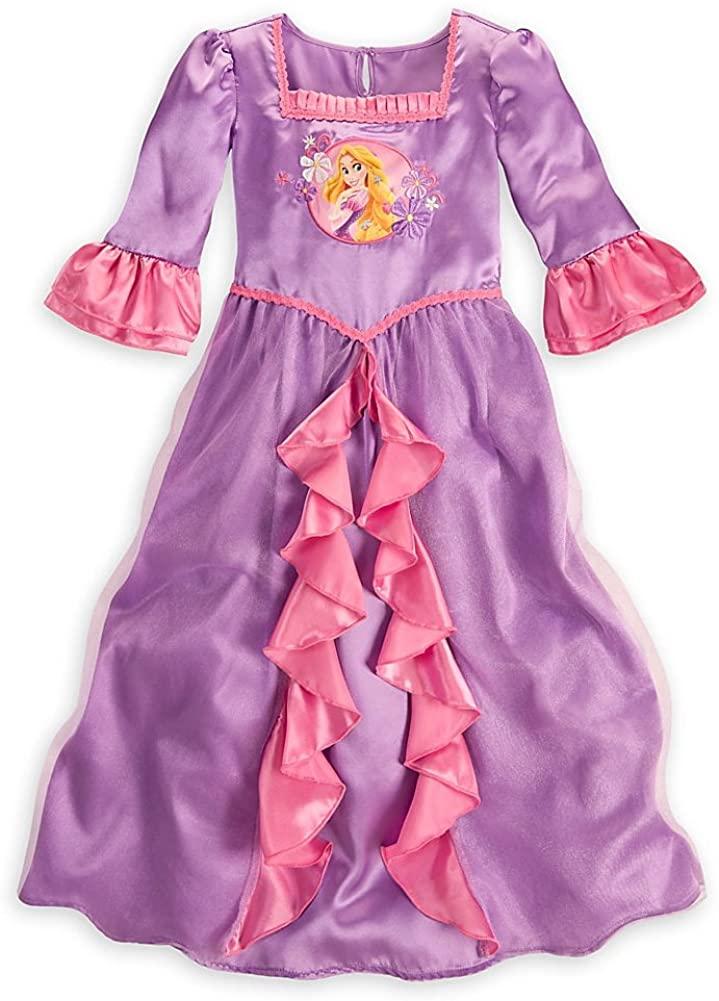 Disney Store Girls Princess Rapunzel Ruffled Satin 3/4 Sleeves Nightgown