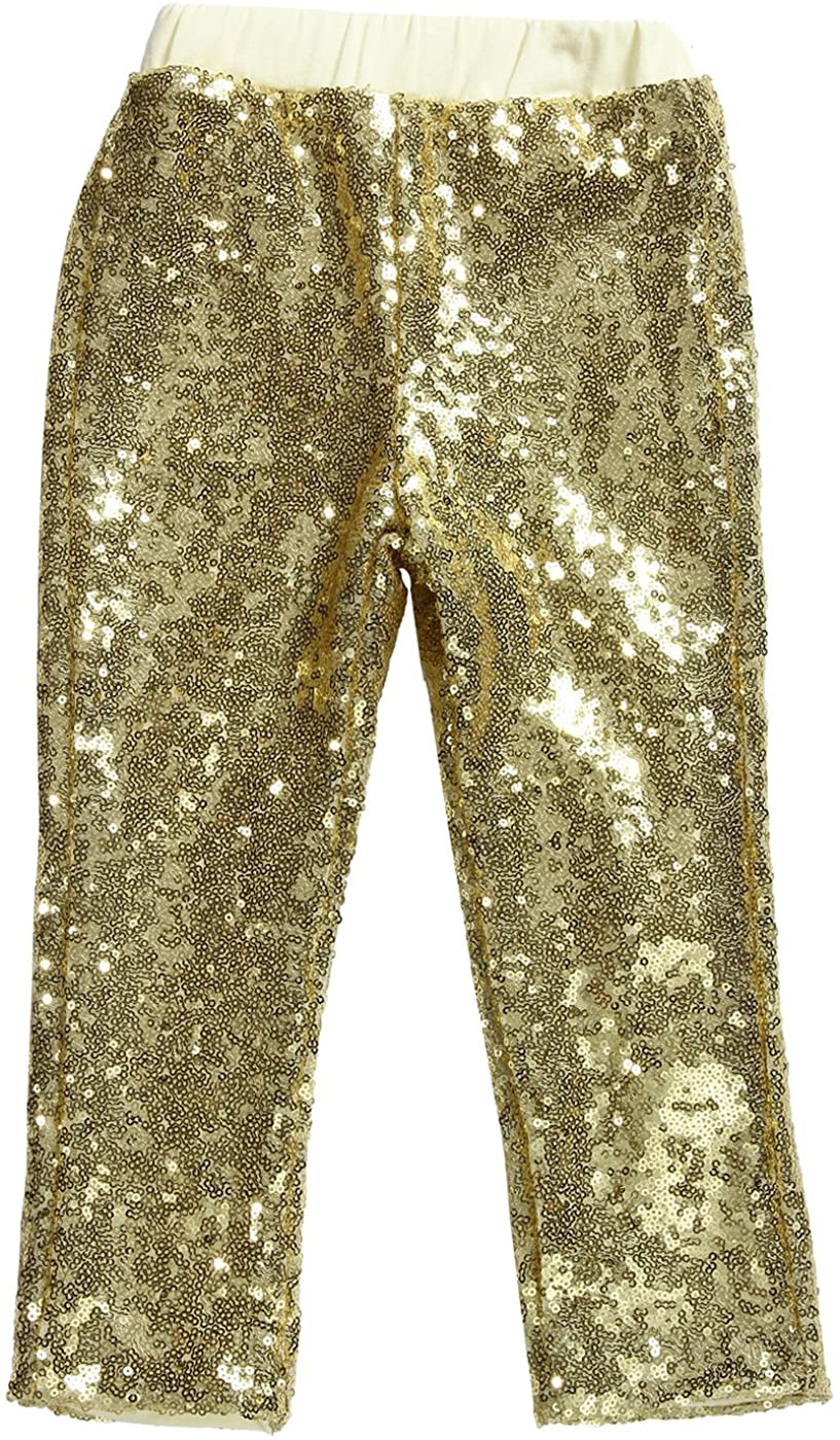 Cilucu Leggings for Girls Boys Toddler Sequin Gold Pants Kids Birthday Clothes Sparkle on Both Sides