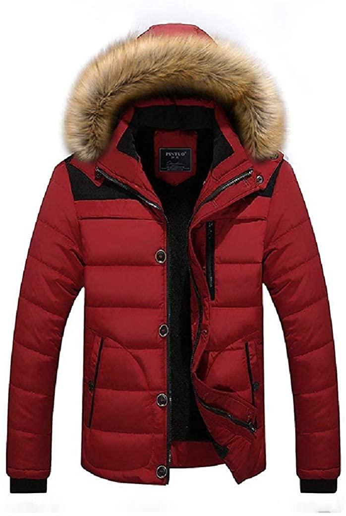 Wndxfhdscd Men's Winter Parka Jacket Fur Hooded Thicken Cotton Puffer Down Coats