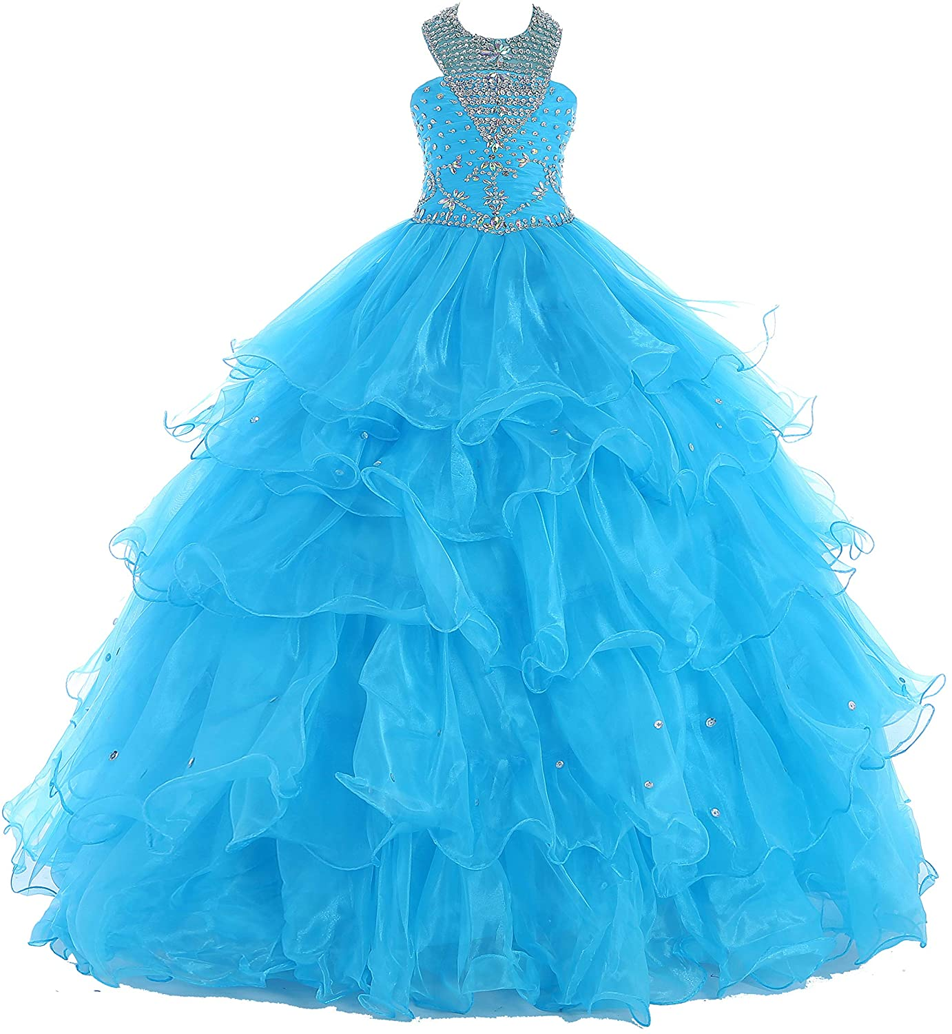 Oudy Strap Beaded Ruffled Ball Gowns 2017 Girls Long Pageant Dresses