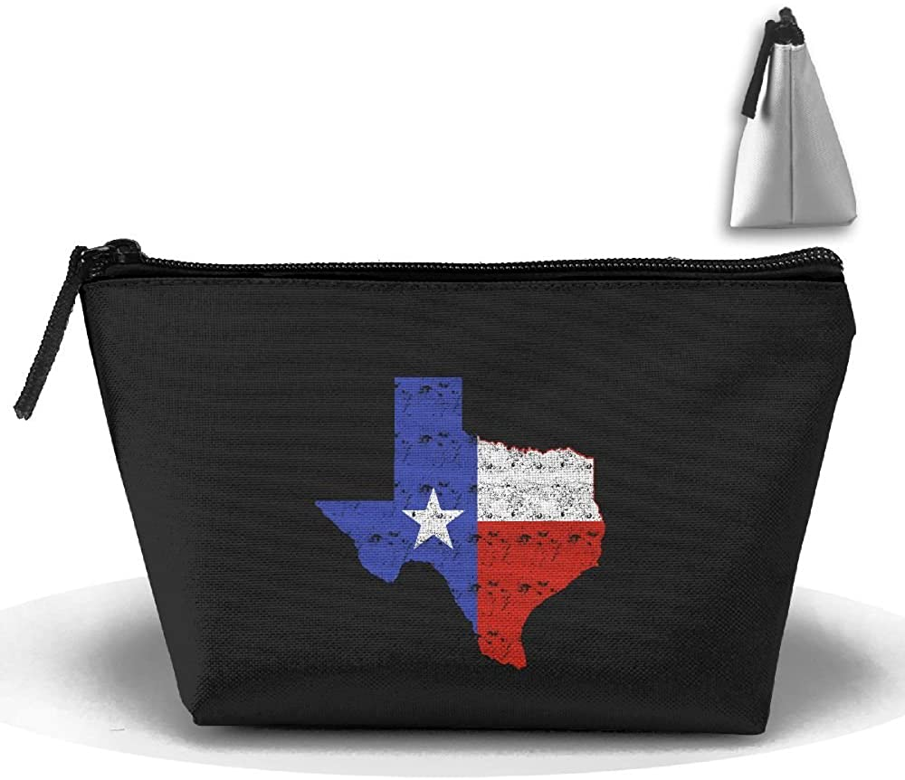 HTSS Distressed Texas Flag Map Portable Makeup Receive Bag Storage Large Capacity Bags Hand Travel Wash Bag