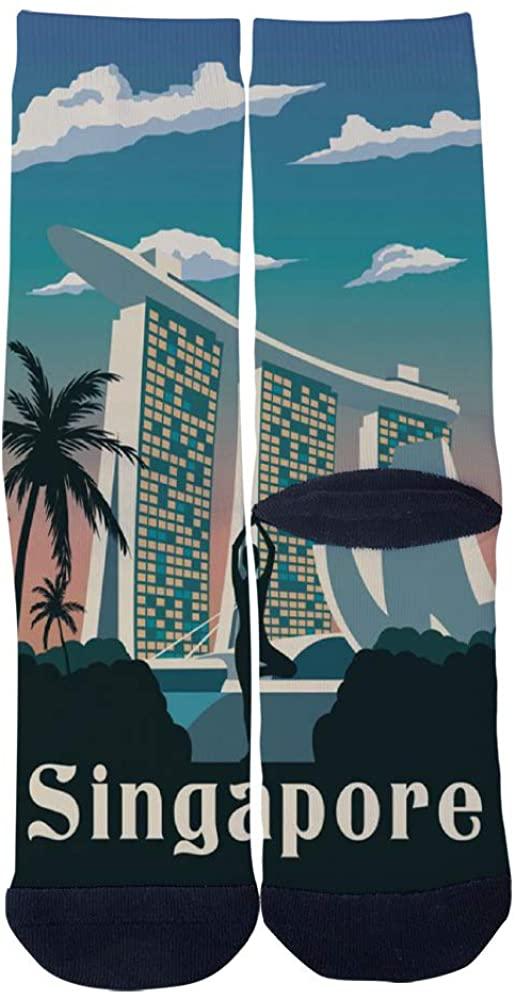 Singapore Travel City Map Yoga Minimalism Socks Men's Women's Casual Socks Custom Creative Crew Socks