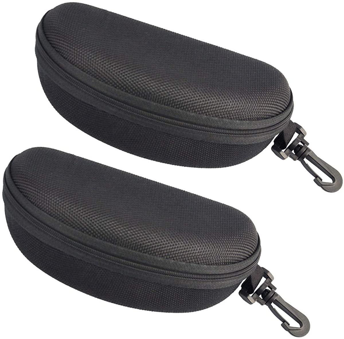 ATTEEN 2Pcs Zipper Sunglasses Case Hard Shell Eyeglasses Case with Carabiner Hook