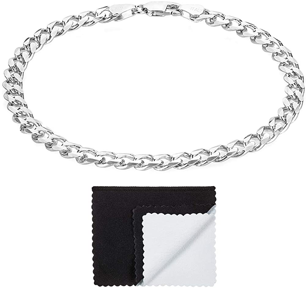 5mm High-Polished .925 Sterling Silver Flat Curb Chain Bracelet, 8 inches + Jewelry Cloth & Pouch