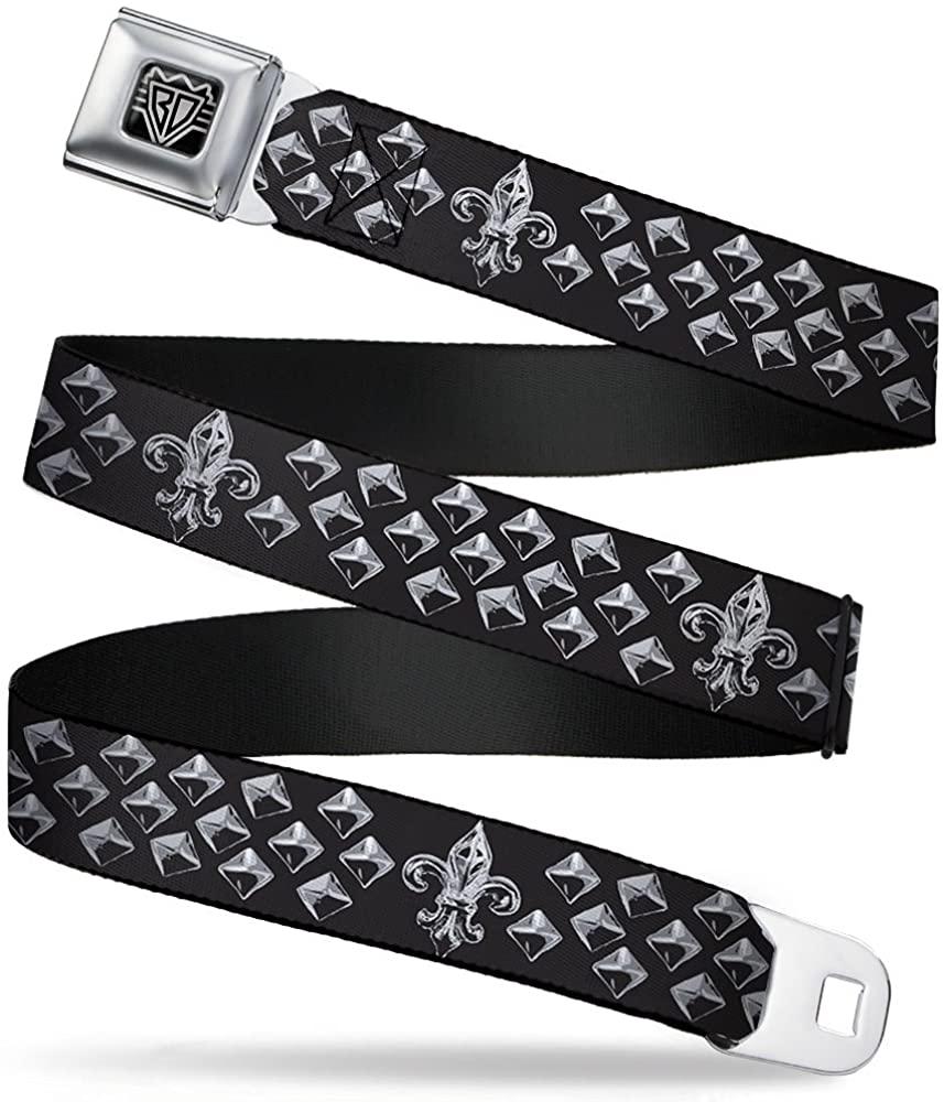 Buckle-Down Seatbelt Belt - Fleur-de-Lis/Studs Black/Grays - 1.0