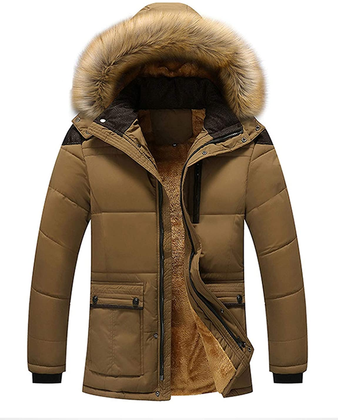 Flygo Mens Winter Warm Sherpa Lined Quilted Parka Jacket with Removable Fur Hood