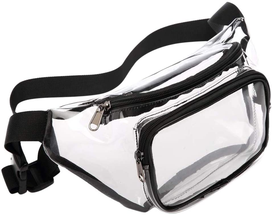 Fewear Clear Fanny Pack Waterproof Cute Waist Bag Clear Purse Transparent Adjustable Belt Bag for Women Men, Travel, Beach, BTS Concerts Events, Transparent Shoulder Bag, Diagonal Package
