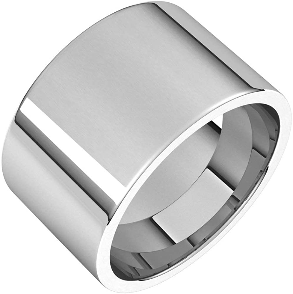 Solid Palladium 12mm Flat Comfort Fit Wedding Band Size 9