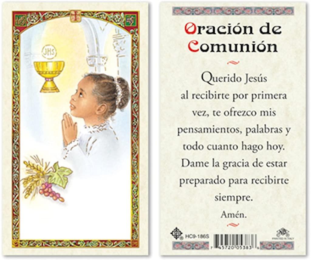 SPANISH FIRST COMMUNION GIRL - COMMUNION PRAYER LAMINATED PRAYER CARDS - 25/PKG
