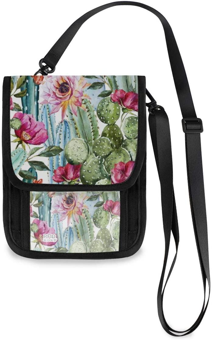 Travel Neck Wallet Cactus Passport Holder Organized Travel Neck Pouch Crossbody Phone Bag for Women Men