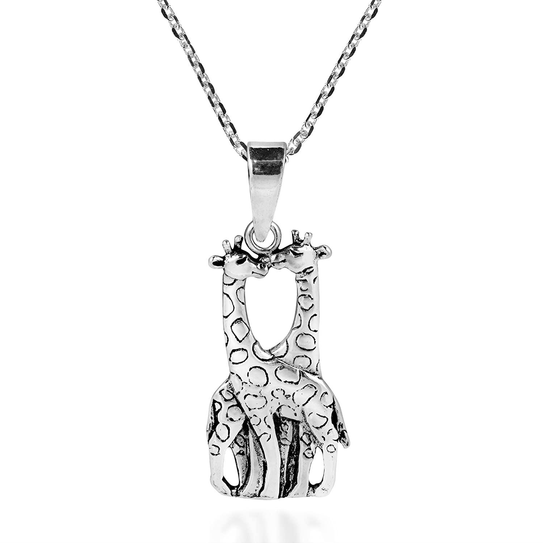 AeraVida Giraffe Couple in Love .925 Sterling Silver Pendant Necklace