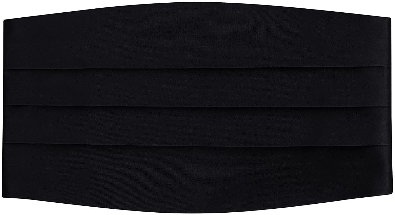 Mens Adjustable Satin Cummerbund- Black