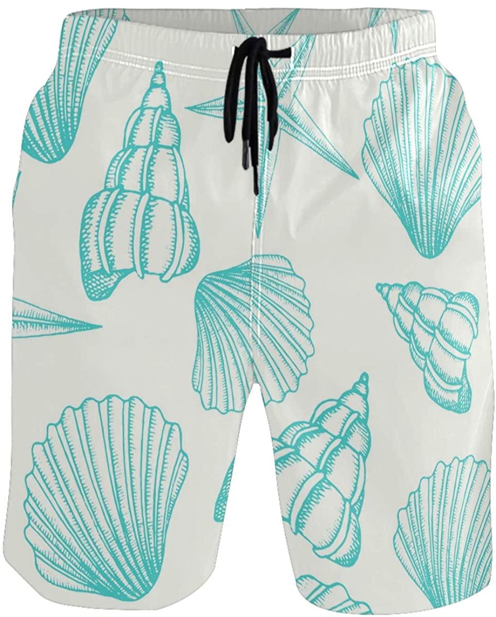 RunningBear Men's Swim Trunks - Shells Beach Short Men Quick Dry Bathing Suit Shorts