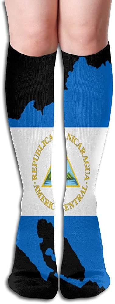 LzVong Flag Map Of Nicaragua Women's Long Knee High Socks Dresses Casual Stockings
