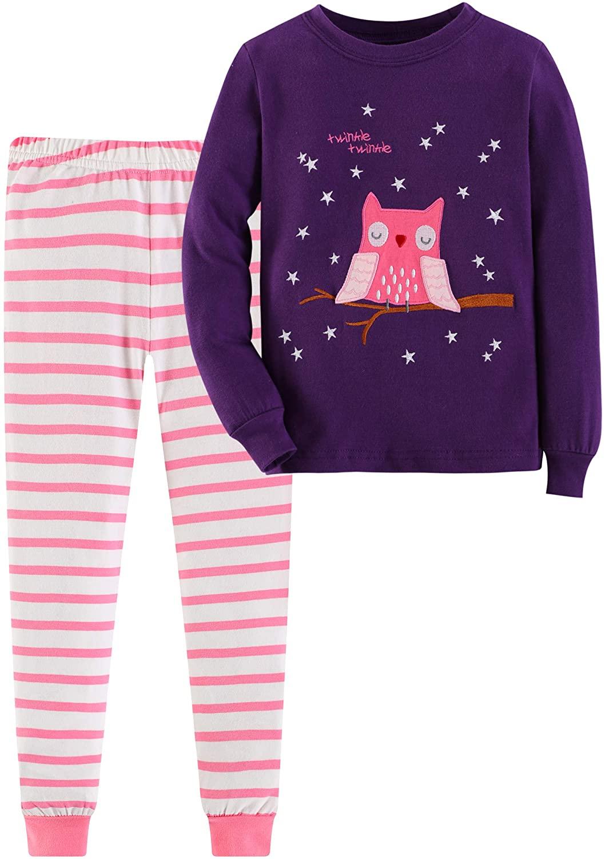 Gorboig Girls 2 Piece Pajamas Sleepwear Set Shirt&Leggings Kid Children snug Cute