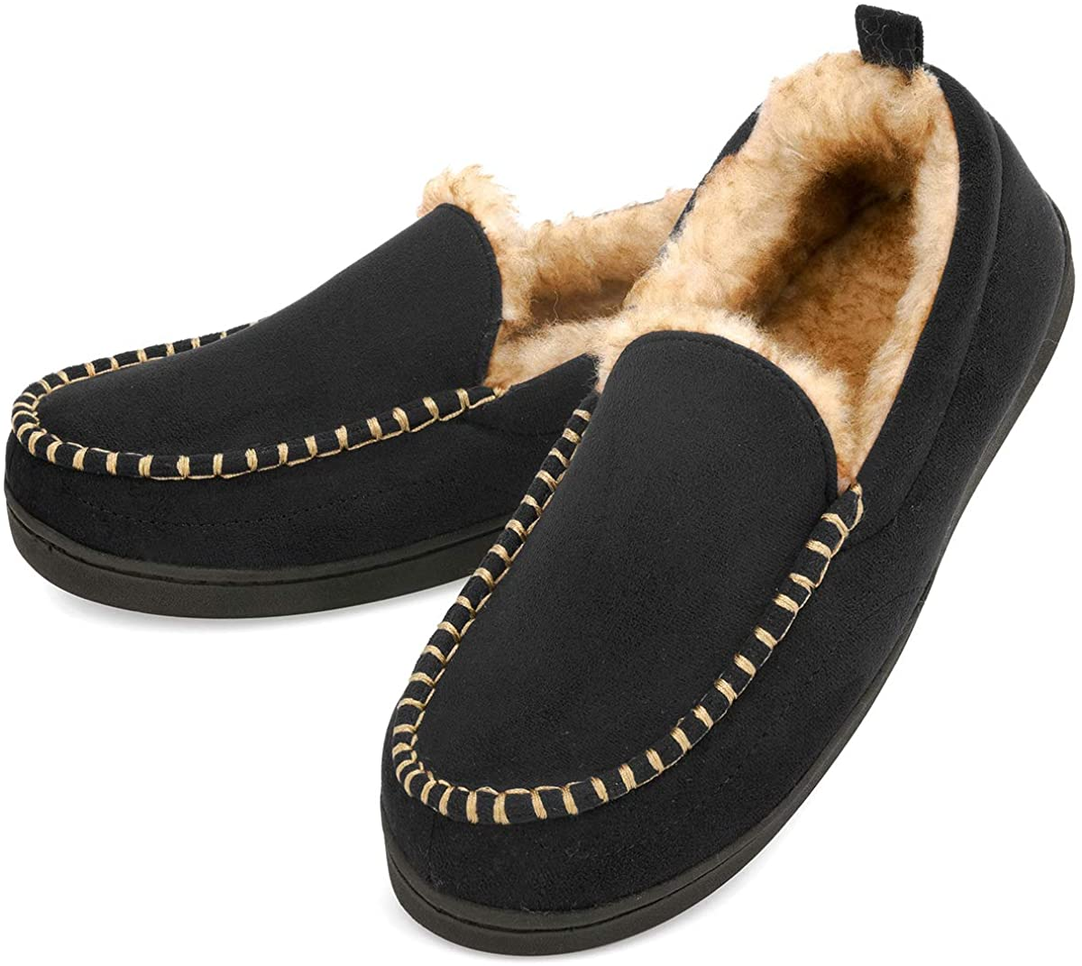 Men's Moccasin Slippers Fuzzy House Shoes Fluffy Fur Home Warm Memory Foam Indoor Outdoor