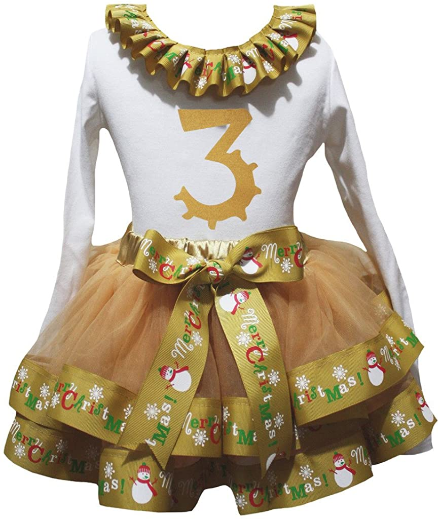 Petitebella Bling 3rd L/s Shirt Merry Christmas Gold Petal Skirt Outfit Nb-8y