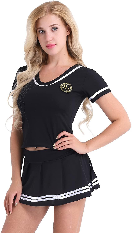 YONGHS Women's Schoolgirl Cheerleading Uniform Musical Party Halloween Cosplay Fancy Dress