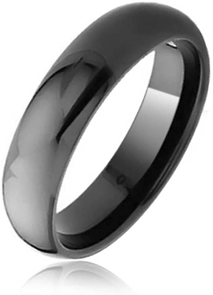 Bling Jewelry Plain Simple Dome Couples Black Silver Rose Gold Plated Titanium Wedding Band Ring for Men Women Comfort 6MM Size 4-14